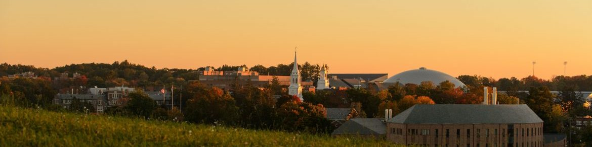 A view of the Storrs campus skyline at dusk on Oct. 11, 2015. (Peter Morenus/UConn Photo)