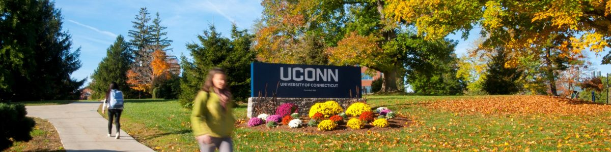 UConn entrance sign in the fall